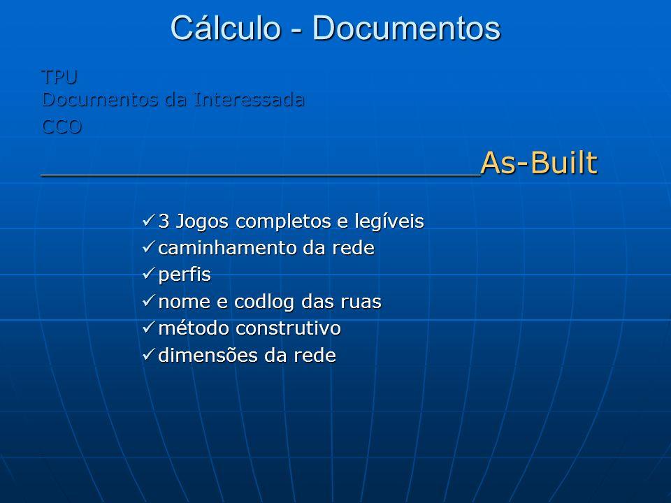 Cálculo - Documentos TPU Documentos da Interessada CCO