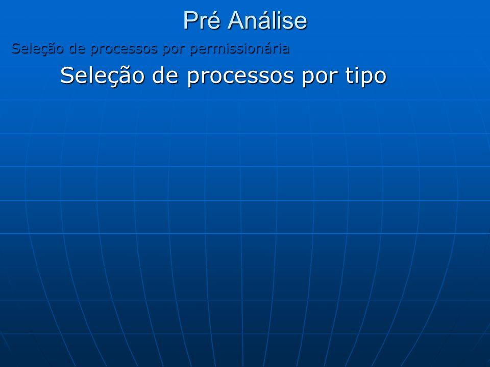 Pré Análise Seleção de processos por tipo