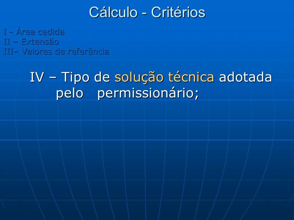 Cálculo - Critérios I - Área cedida. II – Extensão.