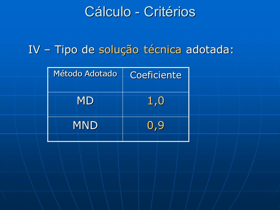 Cálculo - Critérios IV – Tipo de solução técnica adotada: MD 1,0 MND
