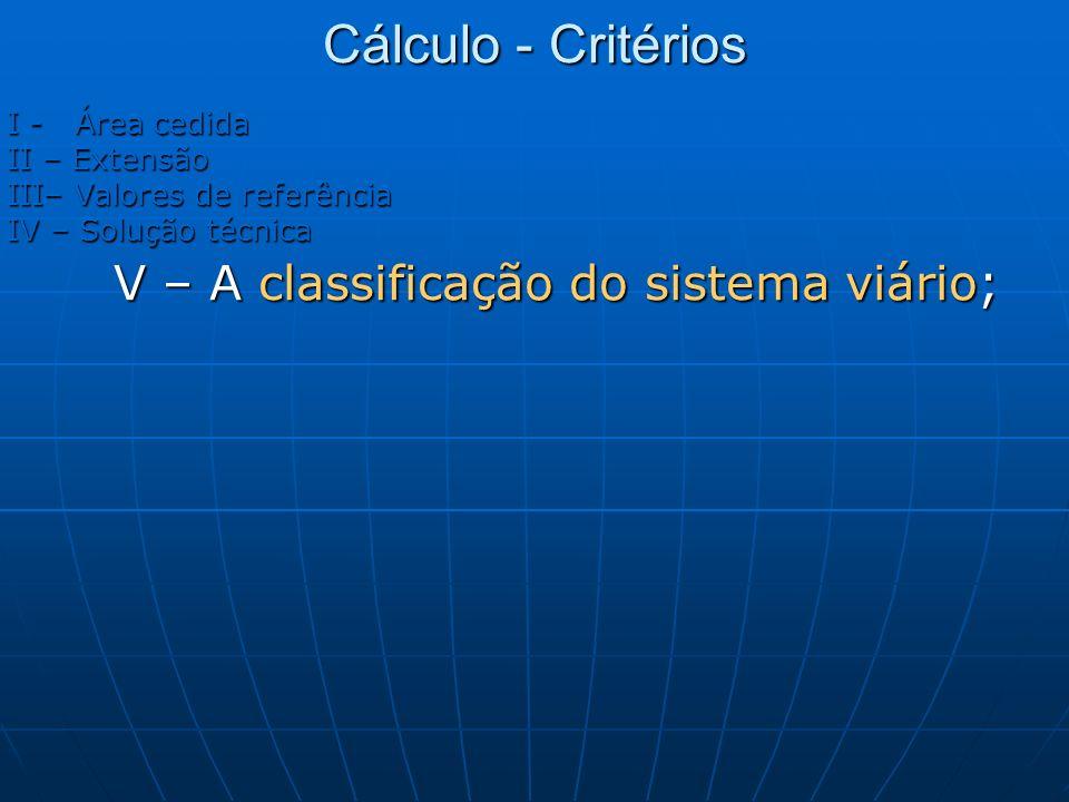 Cálculo - Critérios I - Área cedida II – Extensão