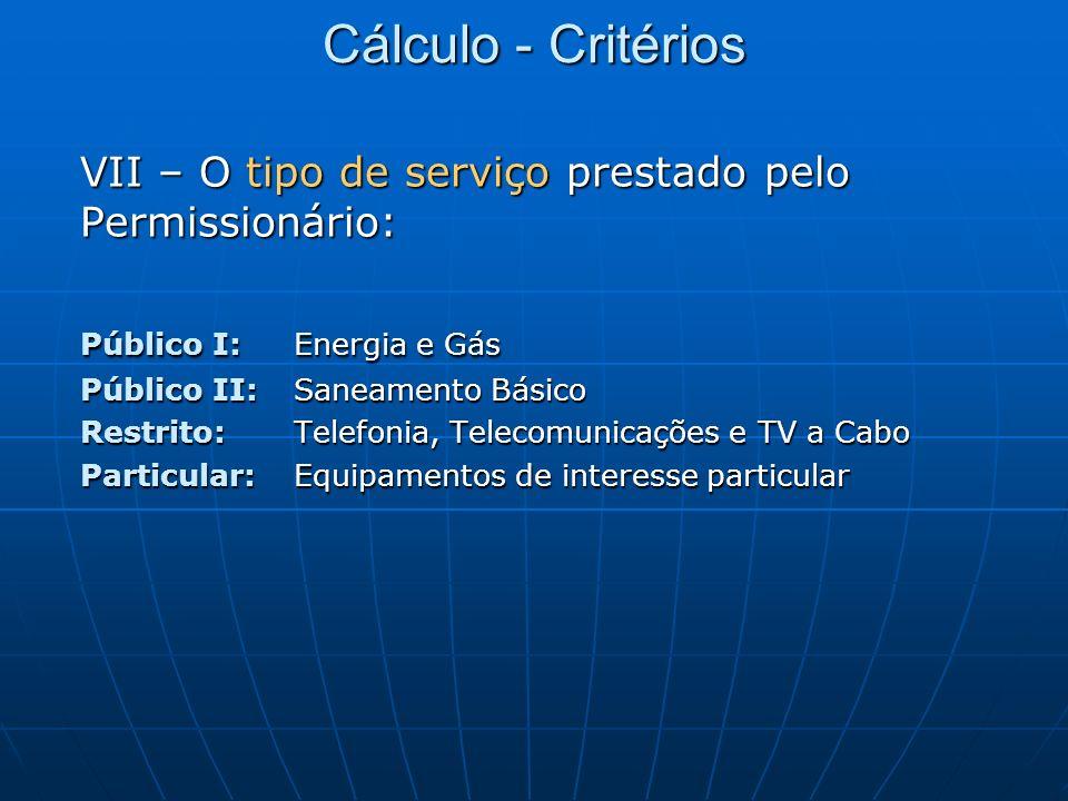 Cálculo - Critérios VII – O tipo de serviço prestado pelo Permissionário: Público I: Energia e Gás.