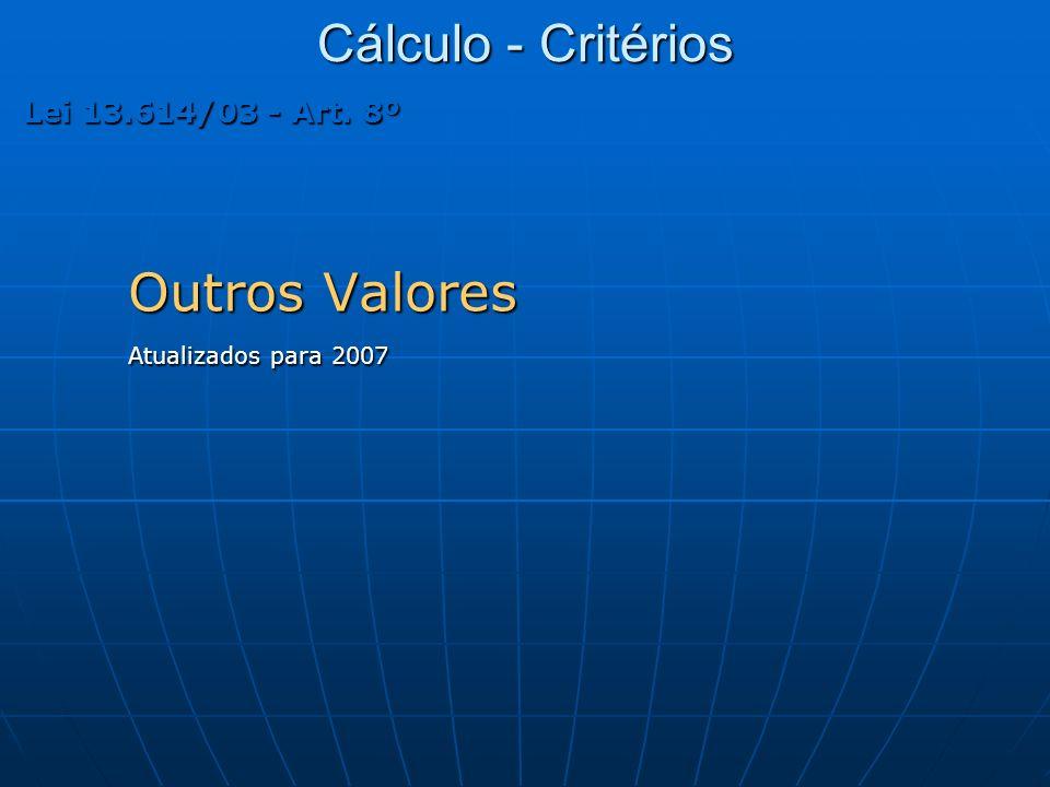 Cálculo - Critérios Outros Valores Atualizados para 2007