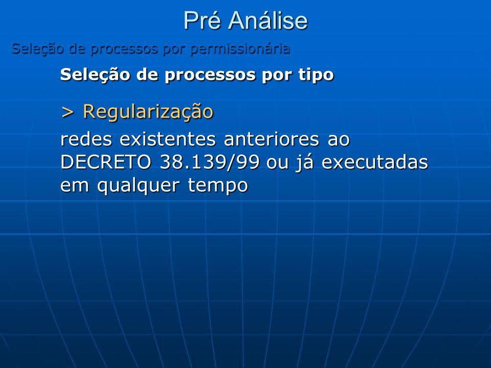 Seleção de processos por tipo > Regularização