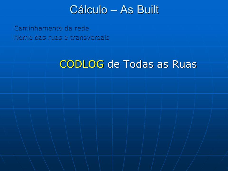 Cálculo – As Built CODLOG de Todas as Ruas Caminhamento da rede