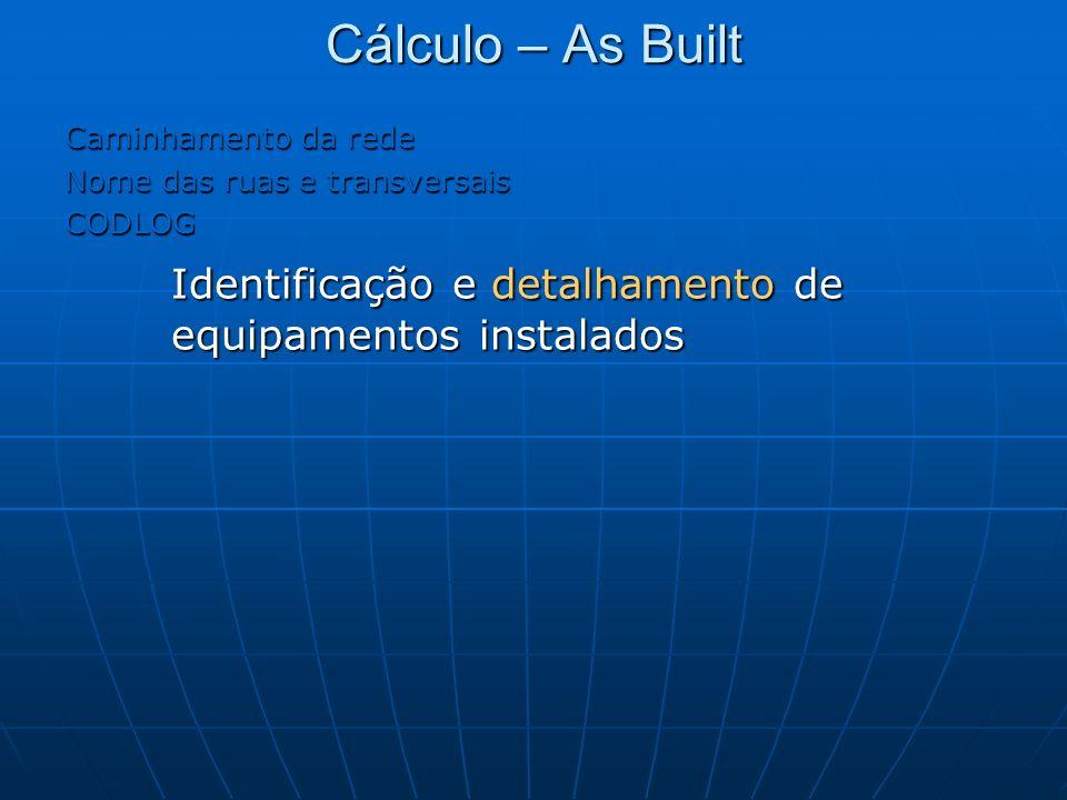 Cálculo – As Built Caminhamento da rede. Nome das ruas e transversais.