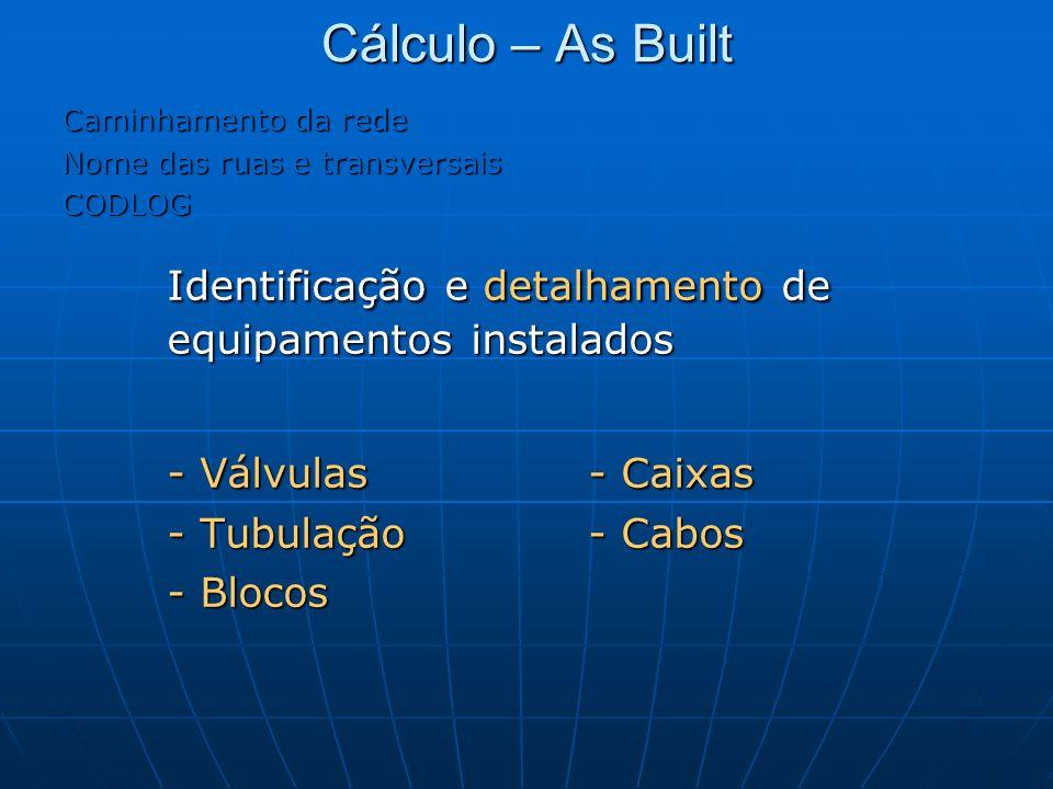 Identificação e detalhamento de equipamentos instalados
