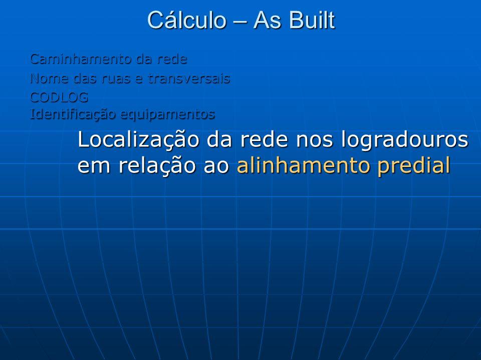 Cálculo – As Built Caminhamento da rede. Nome das ruas e transversais. CODLOG. Identificação equipamentos.