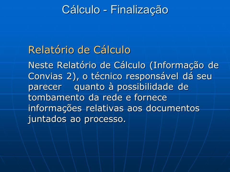 Cálculo - Finalização Relatório de Cálculo.