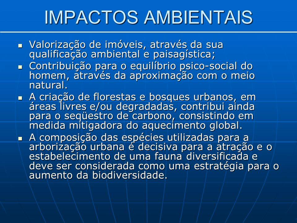 IMPACTOS AMBIENTAIS Valorização de imóveis, através da sua qualificação ambiental e paisagística;