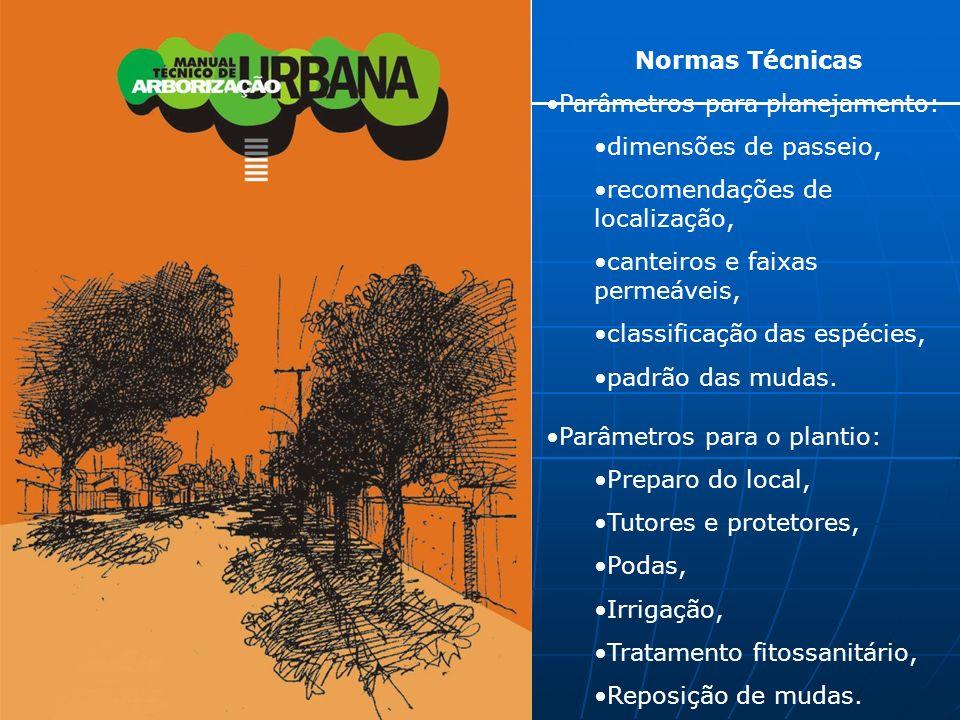 Normas Técnicas Parâmetros para planejamento: dimensões de passeio, recomendações de localização,
