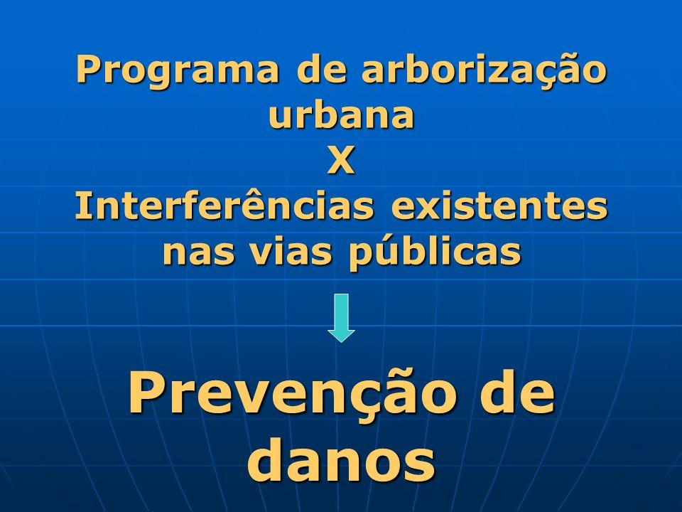 Programa de arborização urbana X Interferências existentes nas vias públicas