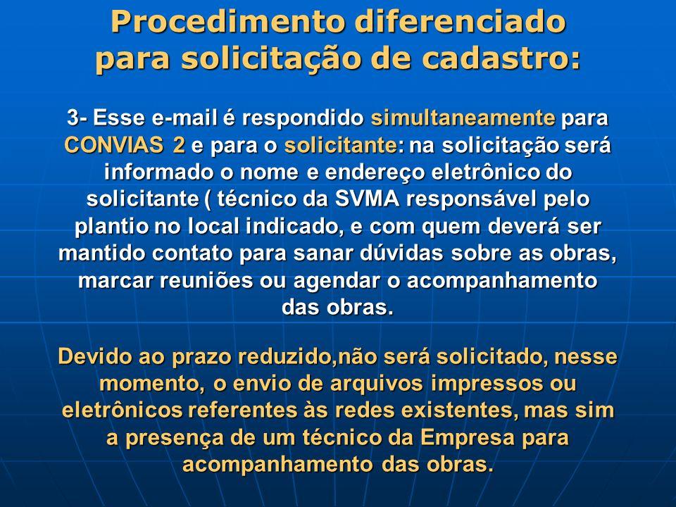 Procedimento diferenciado para solicitação de cadastro: