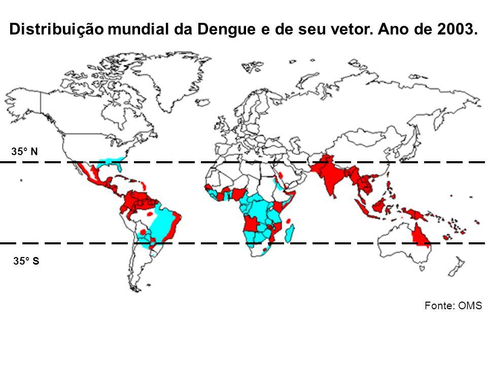 Distribuição mundial da Dengue e de seu vetor. Ano de 2003.
