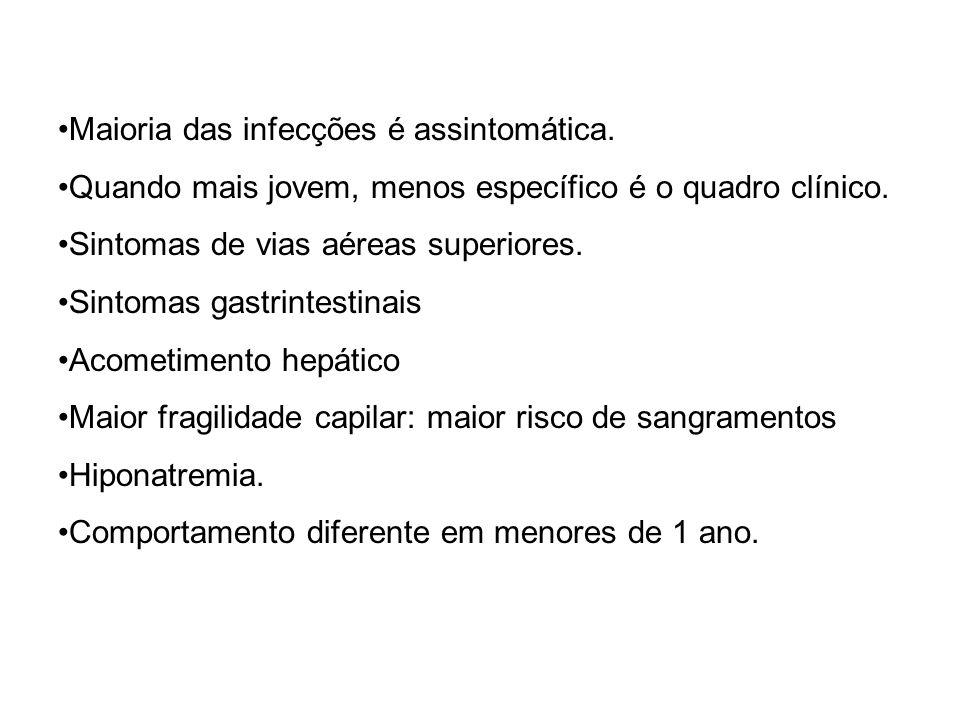 Maioria das infecções é assintomática.