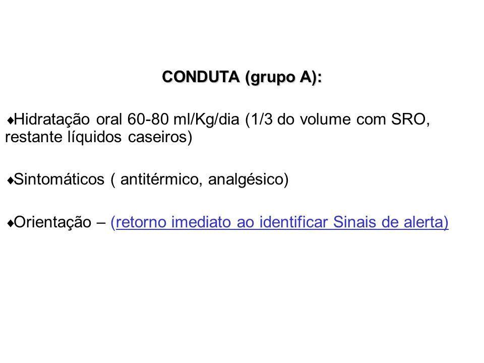CONDUTA (grupo A): Hidratação oral 60-80 ml/Kg/dia (1/3 do volume com SRO, restante líquidos caseiros)