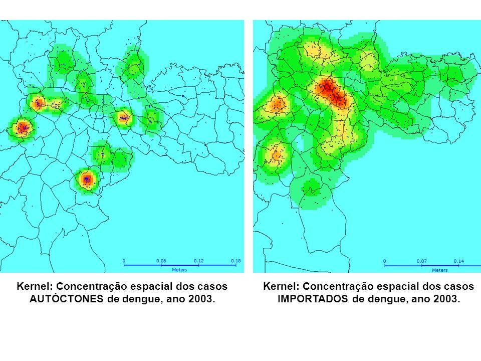 Kernel: Concentração espacial dos casos AUTÓCTONES de dengue, ano 2003.