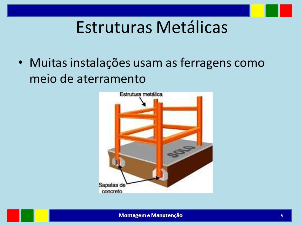 Estruturas Metálicas Muitas instalações usam as ferragens como meio de aterramento.