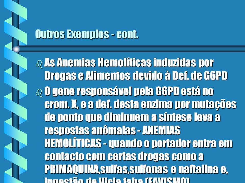 Outros Exemplos - cont.As Anemias Hemolíticas induzidas por Drogas e Alimentos devido à Def. de G6PD.