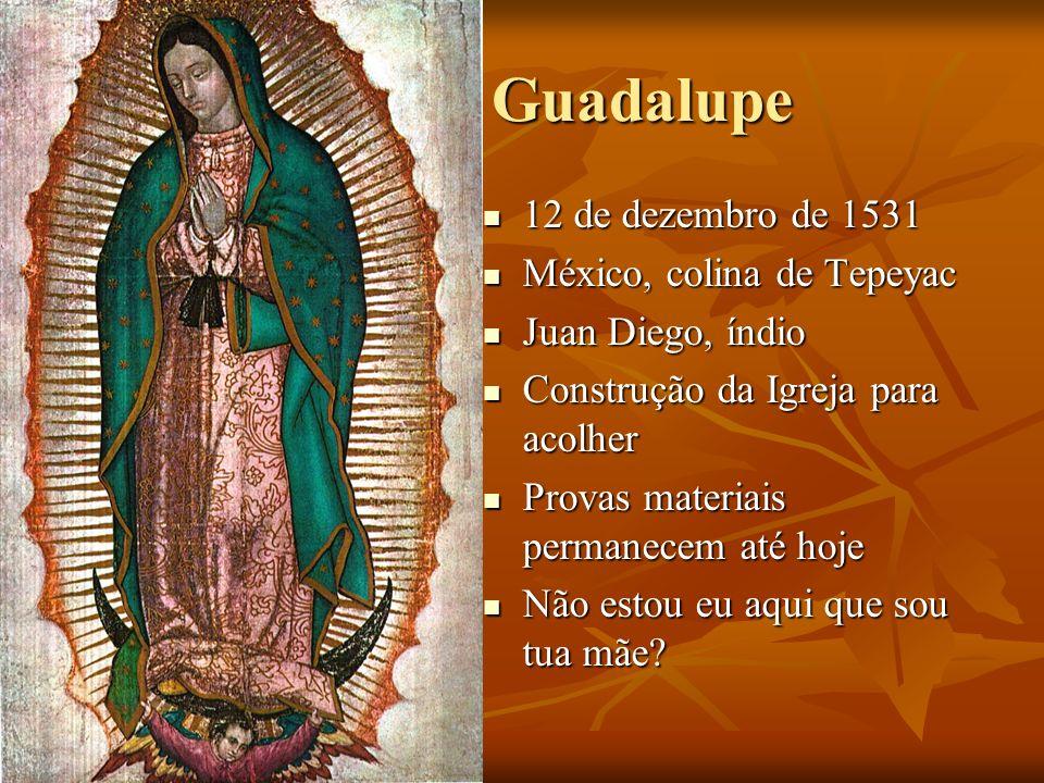Guadalupe 12 de dezembro de 1531 México, colina de Tepeyac