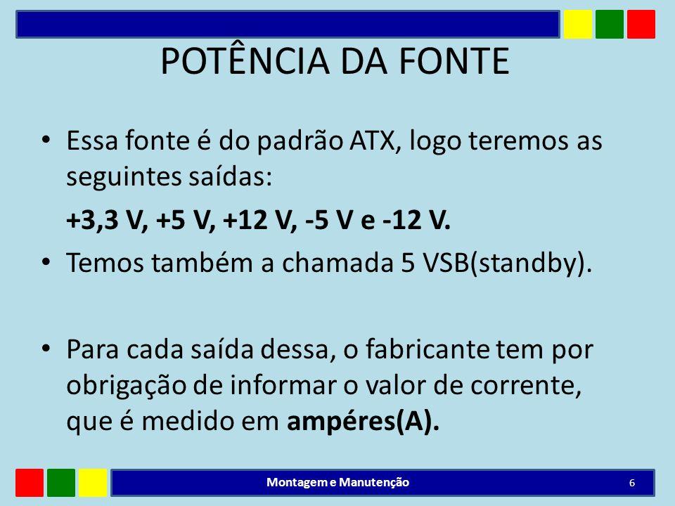 POTÊNCIA DA FONTEEssa fonte é do padrão ATX, logo teremos as seguintes saídas: +3,3 V, +5 V, +12 V, -5 V e -12 V.