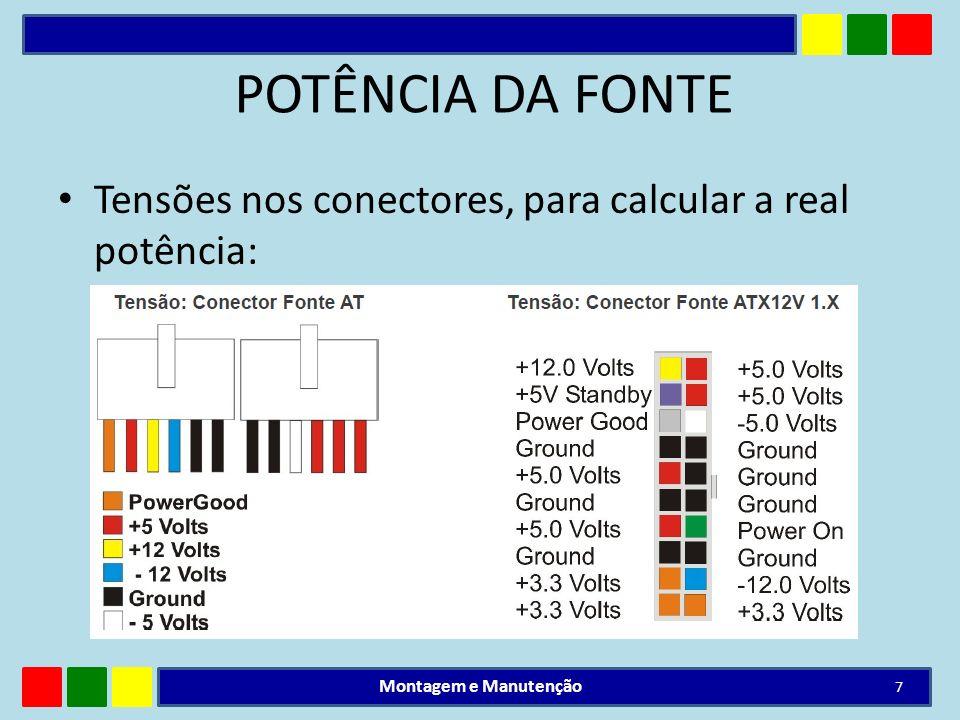 POTÊNCIA DA FONTE Tensões nos conectores, para calcular a real potência: Montagem e Manutenção