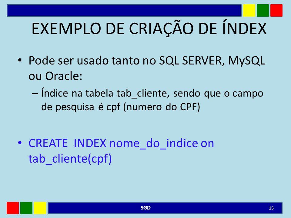 EXEMPLO DE CRIAÇÃO DE ÍNDEX
