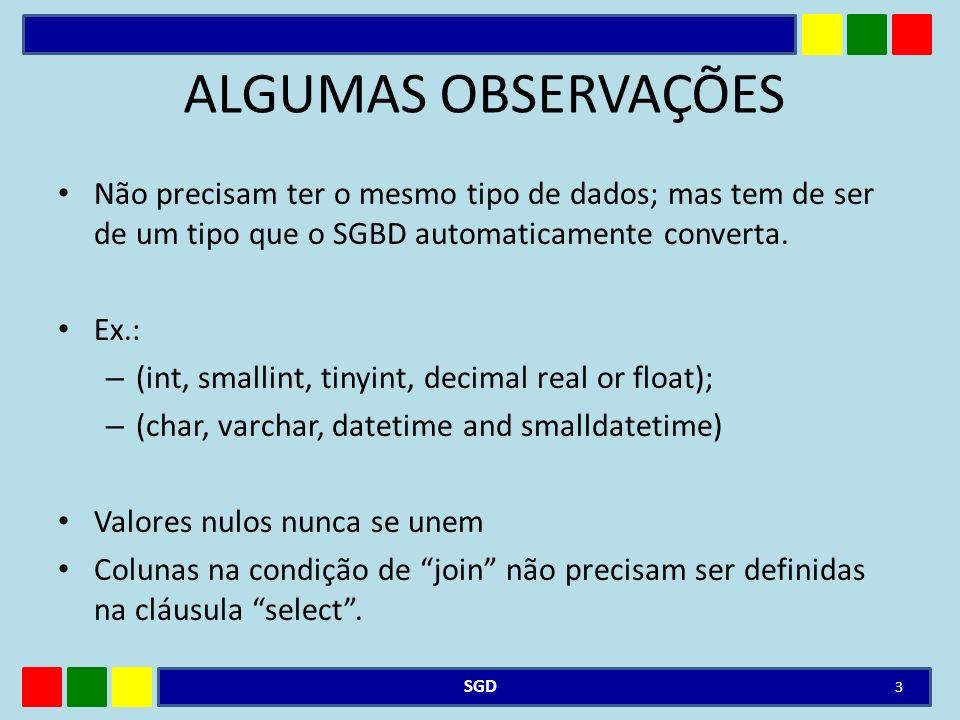 ALGUMAS OBSERVAÇÕES Não precisam ter o mesmo tipo de dados; mas tem de ser de um tipo que o SGBD automaticamente converta.