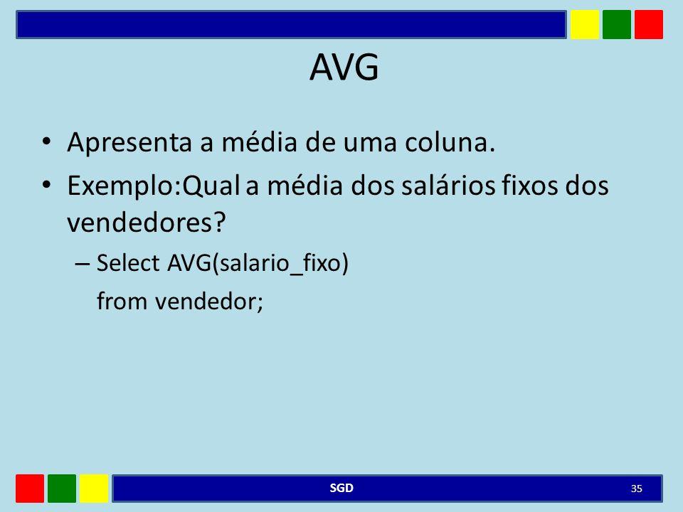 AVG Apresenta a média de uma coluna.