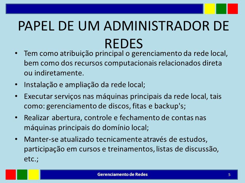 PAPEL DE UM ADMINISTRADOR DE REDES