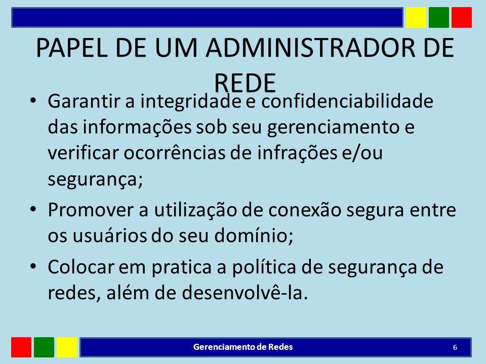PAPEL DE UM ADMINISTRADOR DE REDE