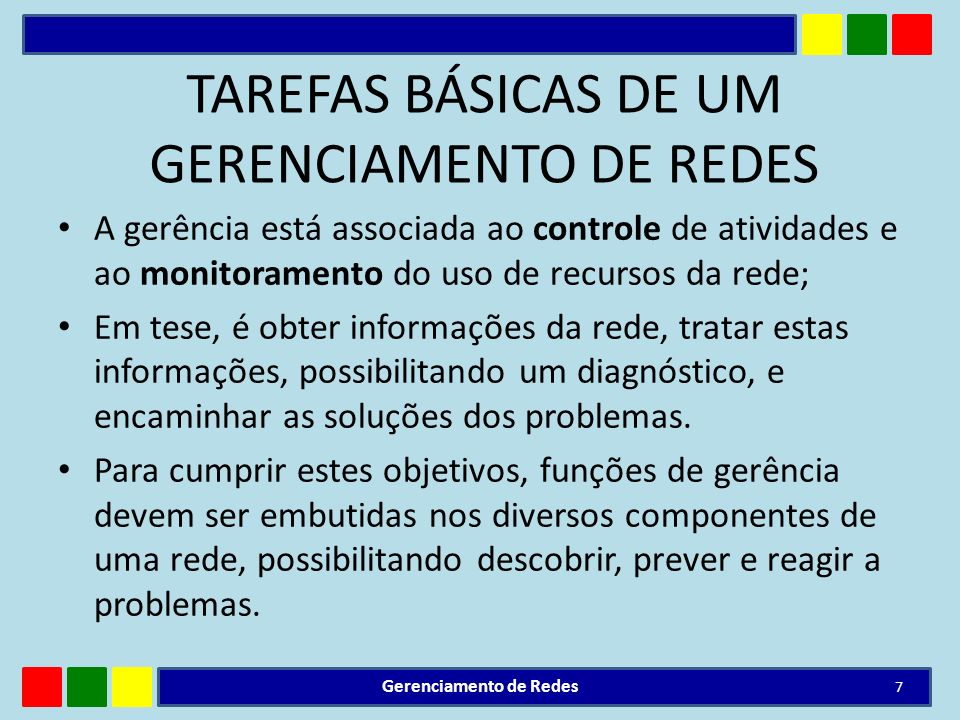 TAREFAS BÁSICAS DE UM GERENCIAMENTO DE REDES