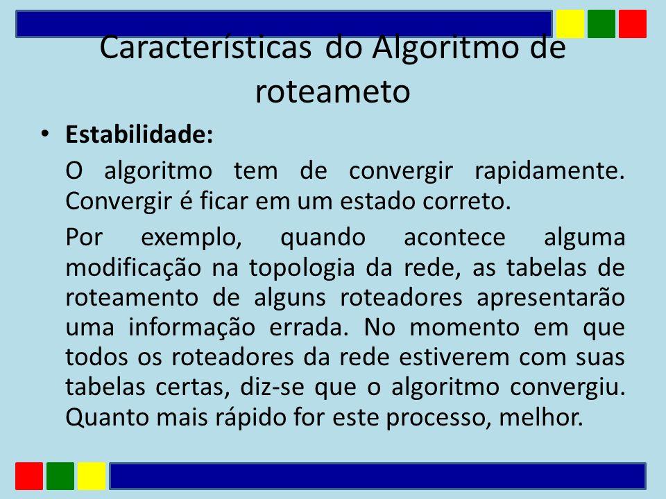 Características do Algoritmo de roteameto