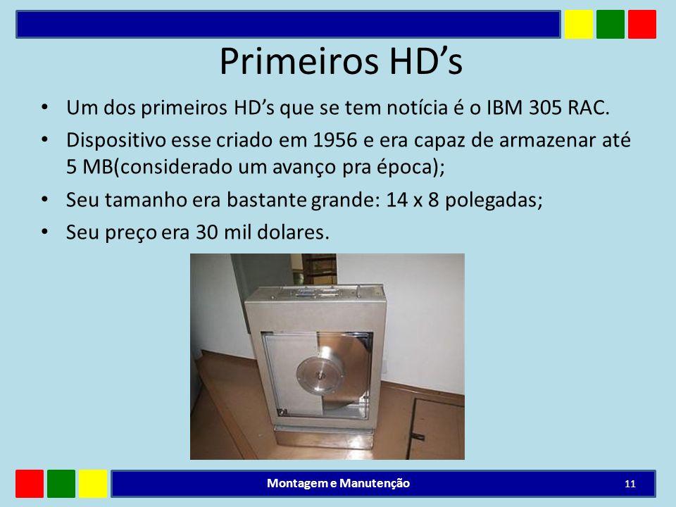 Primeiros HD's Um dos primeiros HD's que se tem notícia é o IBM 305 RAC.