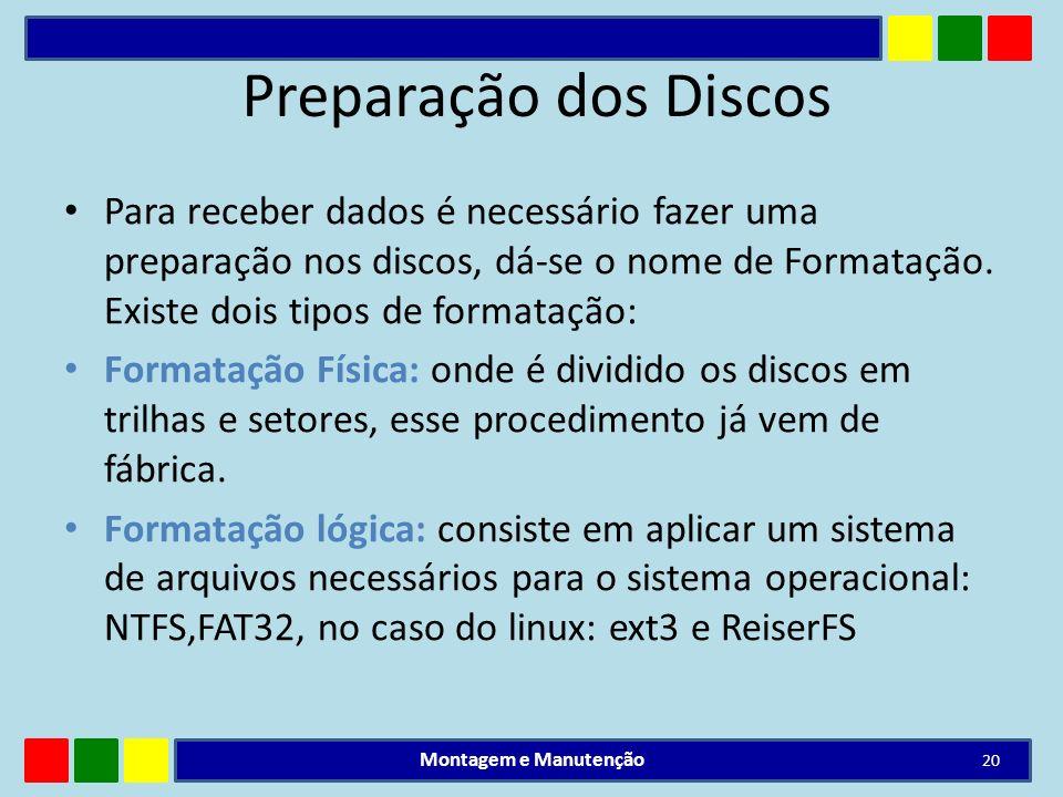 Preparação dos Discos Para receber dados é necessário fazer uma preparação nos discos, dá-se o nome de Formatação. Existe dois tipos de formatação: