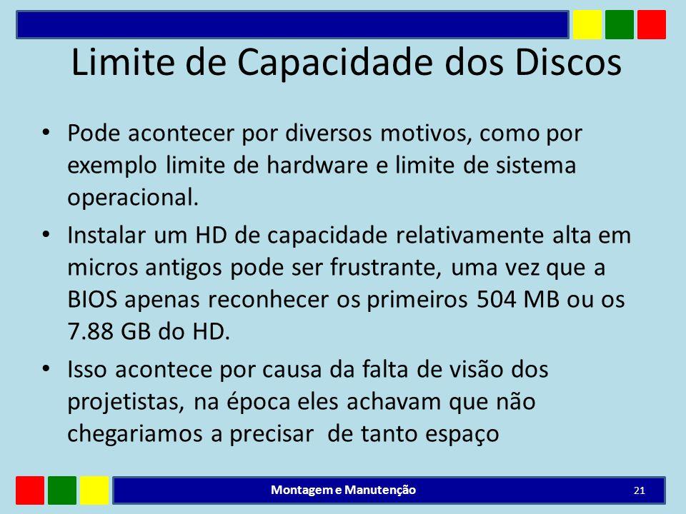 Limite de Capacidade dos Discos