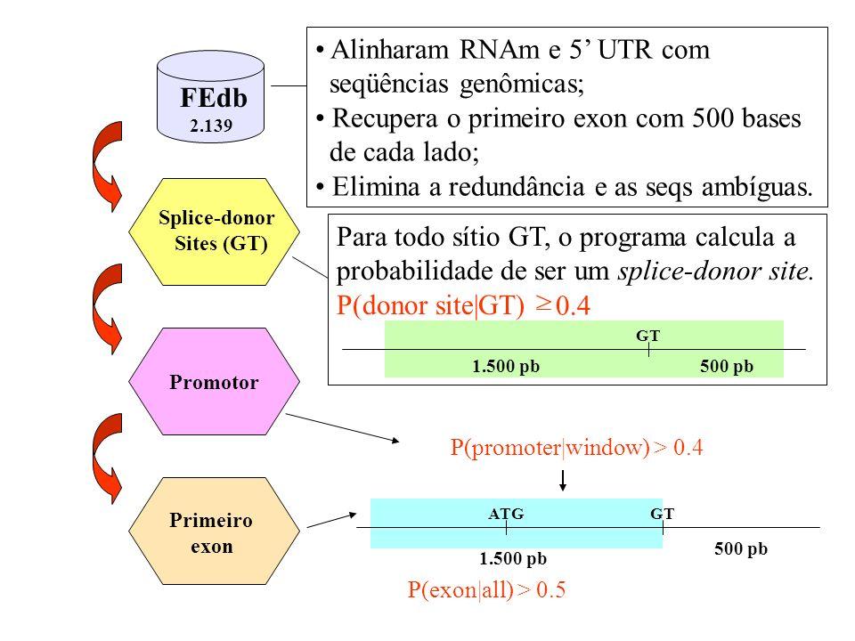 Alinharam RNAm e 5' UTR com seqüências genômicas;