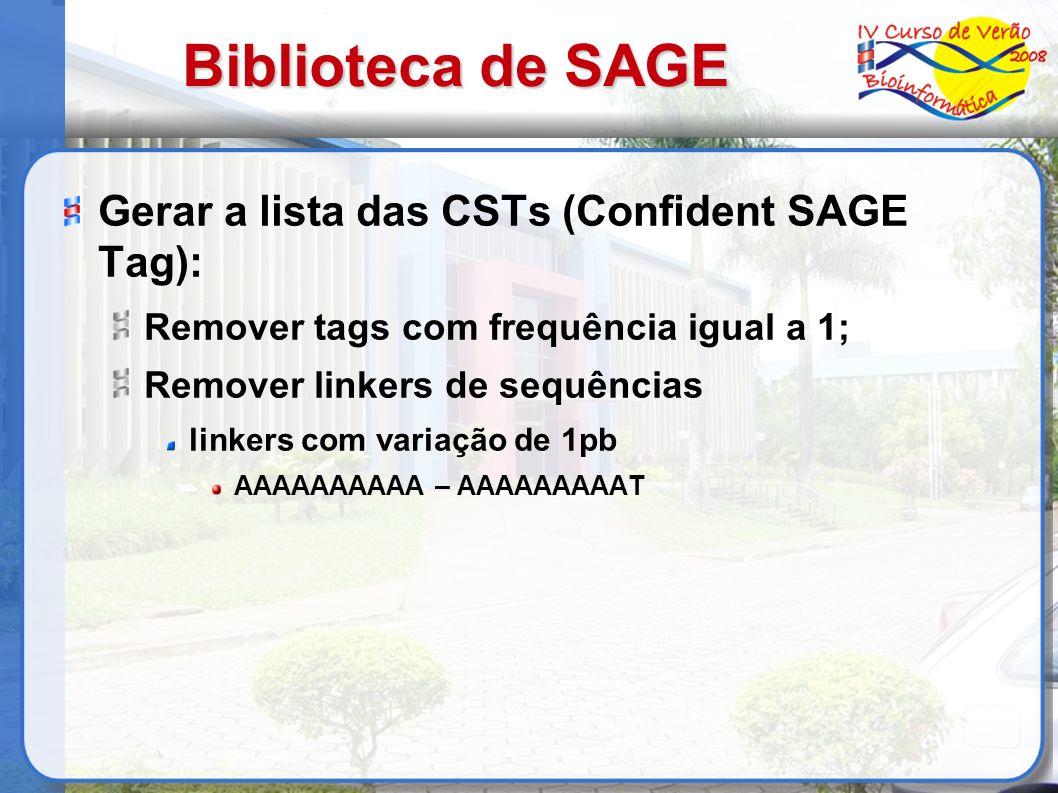 Biblioteca de SAGE Gerar a lista das CSTs (Confident SAGE Tag):