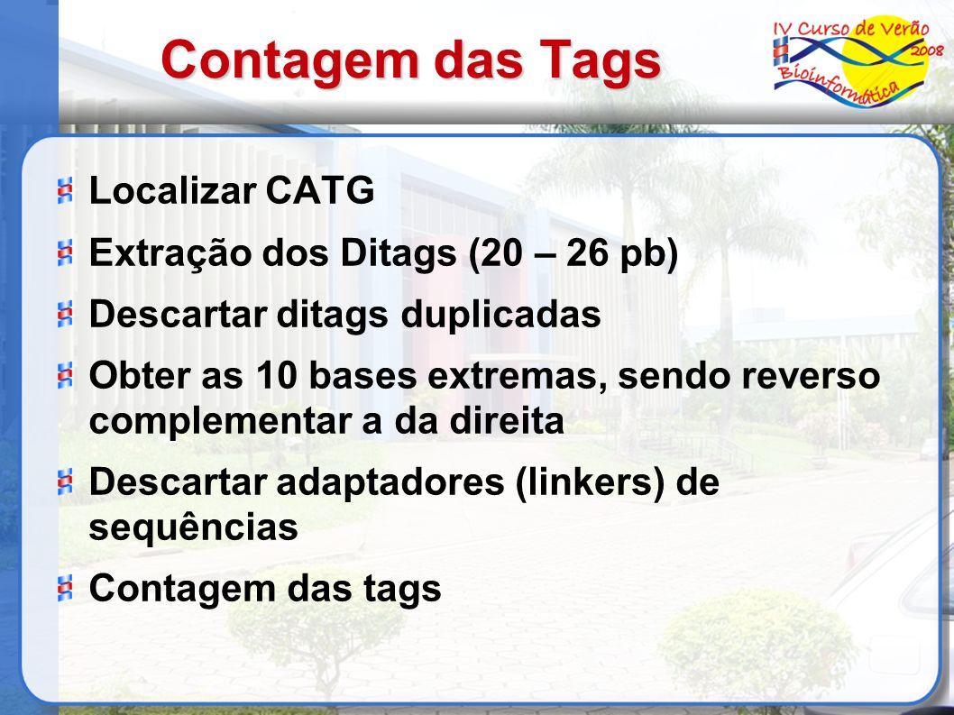 Contagem das Tags Localizar CATG Extração dos Ditags (20 – 26 pb)