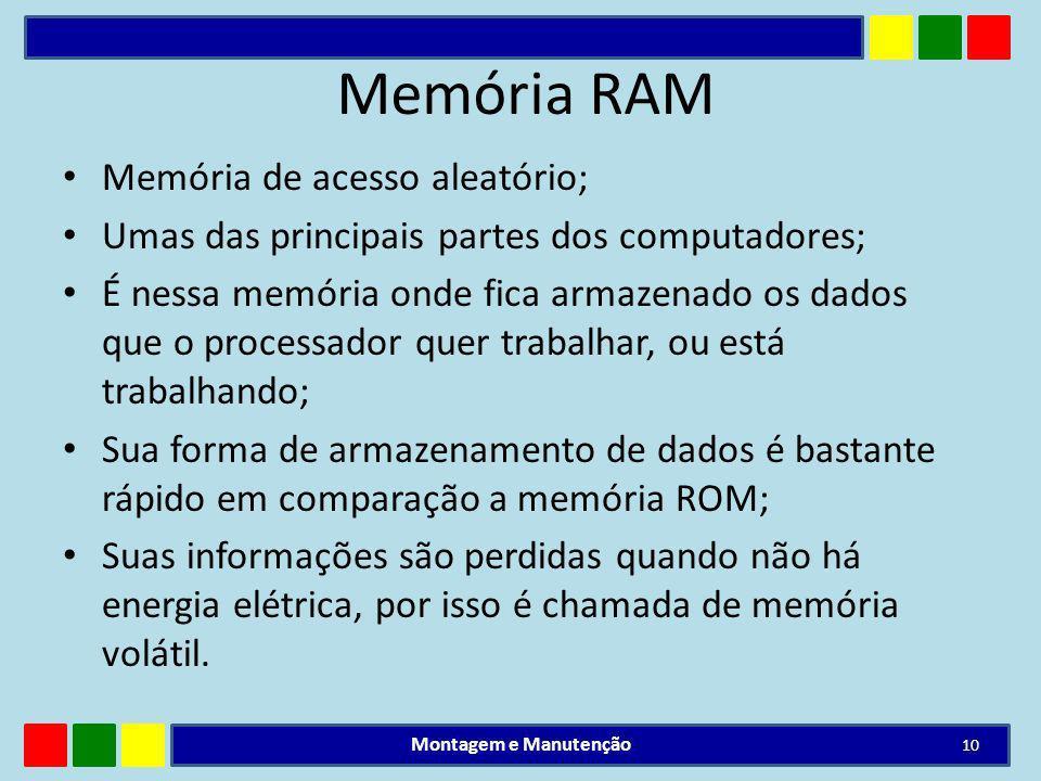 Memória RAM Memória de acesso aleatório;