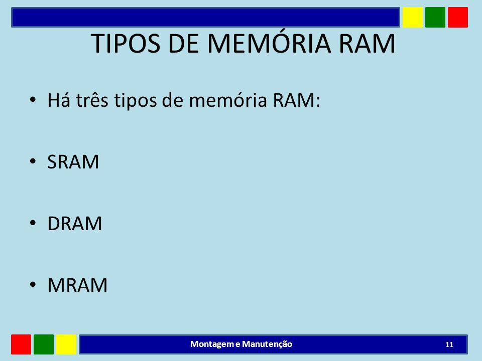 TIPOS DE MEMÓRIA RAM Há três tipos de memória RAM: SRAM DRAM MRAM