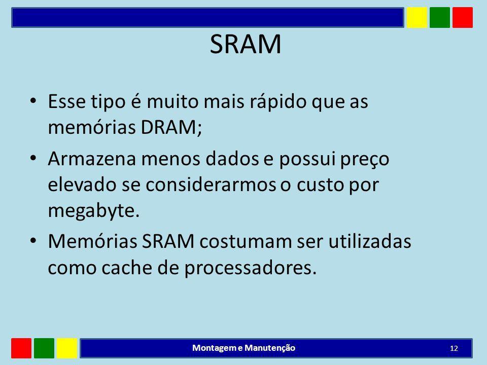 SRAM Esse tipo é muito mais rápido que as memórias DRAM;