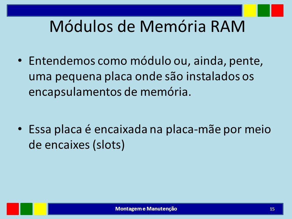 Módulos de Memória RAM Entendemos como módulo ou, ainda, pente, uma pequena placa onde são instalados os encapsulamentos de memória.