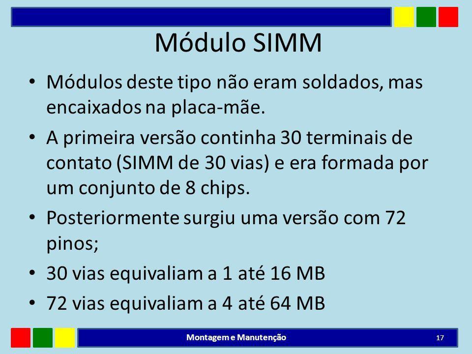 Módulo SIMM Módulos deste tipo não eram soldados, mas encaixados na placa-mãe.