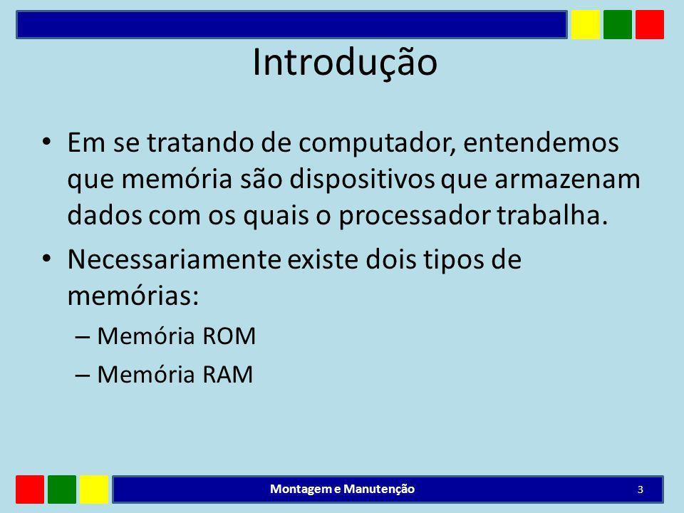 Introdução Em se tratando de computador, entendemos que memória são dispositivos que armazenam dados com os quais o processador trabalha.