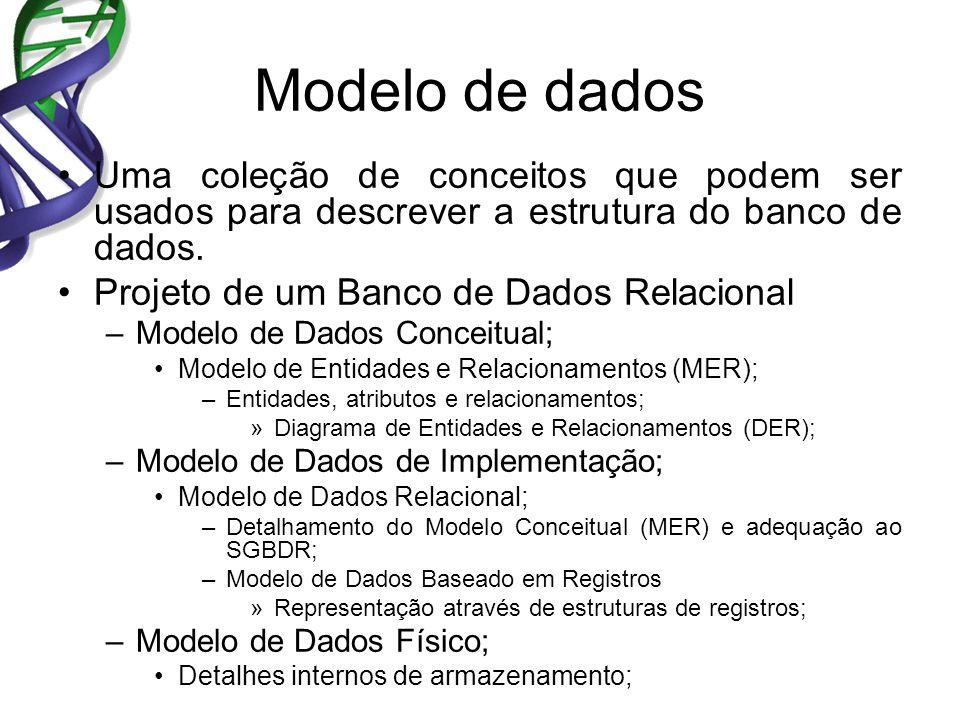Modelo de dados Uma coleção de conceitos que podem ser usados para descrever a estrutura do banco de dados.