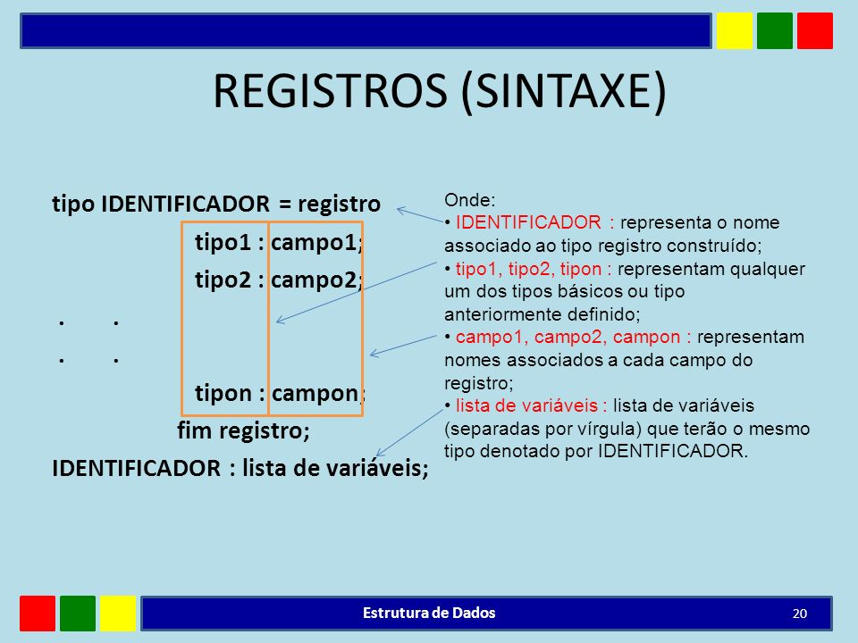 REGISTROS (SINTAXE)