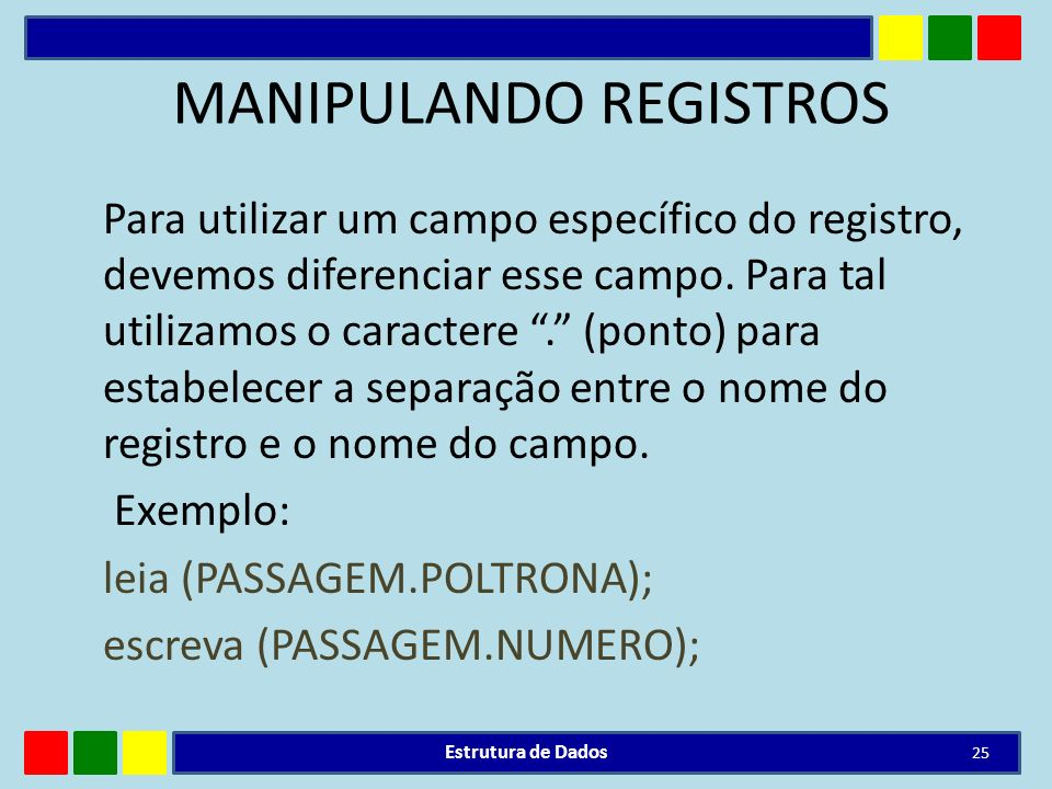 MANIPULANDO REGISTROS