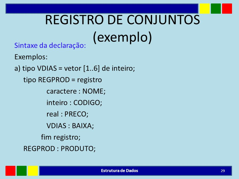 REGISTRO DE CONJUNTOS (exemplo)