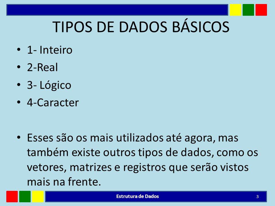 TIPOS DE DADOS BÁSICOS 1- Inteiro 2-Real 3- Lógico 4-Caracter